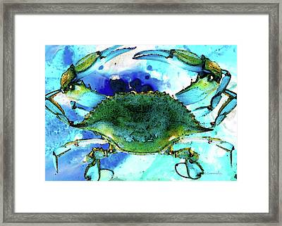 Blue Crab - Abstract Seafood Painting Framed Print by Sharon Cummings