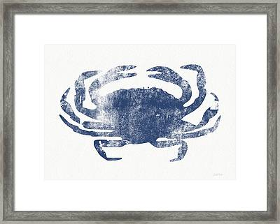 Blue Crab- Art By Linda Woods Framed Print by Linda Woods
