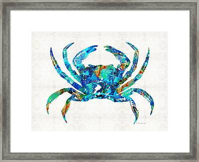 Blue Crab Art By Sharon Cummings Framed Print by Sharon Cummings
