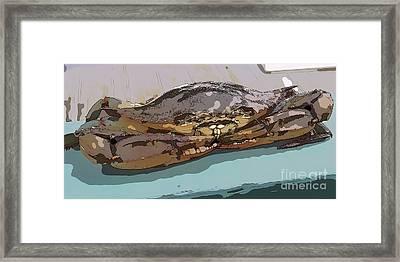 Blue Crab Cartoon Framed Print
