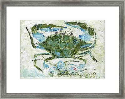 Blue Crab Knife Painting Framed Print by Doris Blessington