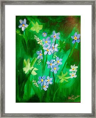 Blue Crocus Flowers Framed Print by Renee Michelle Wenker