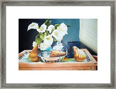 Blue Cup And Pear 3 Framed Print by Sylvester Hickmon