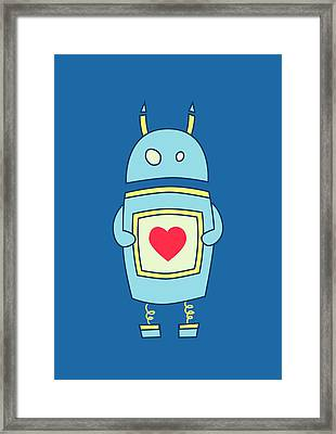 Blue Cute Clumsy Robot With Heart Framed Print by Boriana Giormova