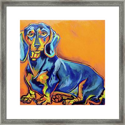 Blue Dachshund Framed Print by Ilene Richard