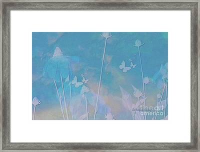 Blue Daisies And Butterflies Framed Print