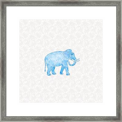 Blue Damask Elephant Framed Print by Antique Images