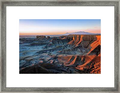 Blue Dawn In The Cainville Badlands. Framed Print