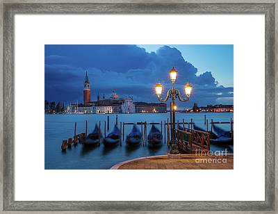 Framed Print featuring the photograph Blue Dawn Over Venice by Brian Jannsen