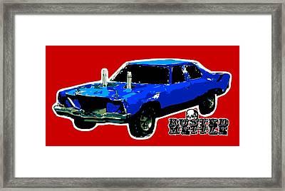 Blue Demo Derby Car Framed Print