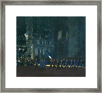 Blue Devils On Fifth Avenue Framed Print by George Luks