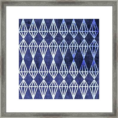 Blue Diamond Stripe- Art By Linda Woods Framed Print