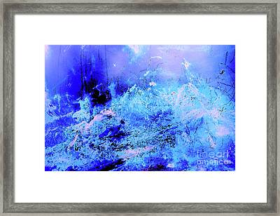 Blue Digital Artwork With Dots And Stripes And Sandstone Finish Framed Print