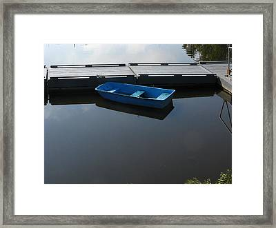 Blue Dinghy Quiet Waters Framed Print
