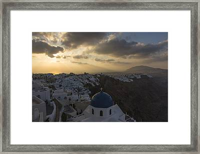Blue Dome - Santorini Framed Print by Kathy Adams Clark