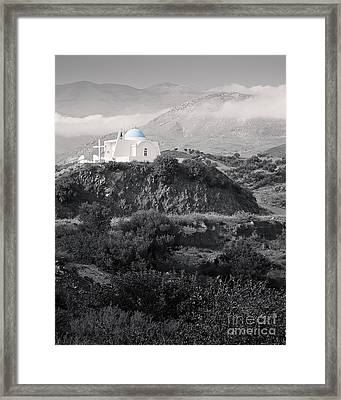 Blue-domed Church In The Mountains Framed Print by Royce Howland