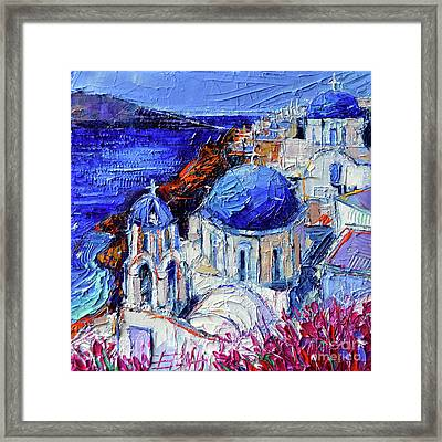 Blue Domed Churches In Oia Santorini - Mini Cityscape #08 - Palette Knife Oil Painting Framed Print