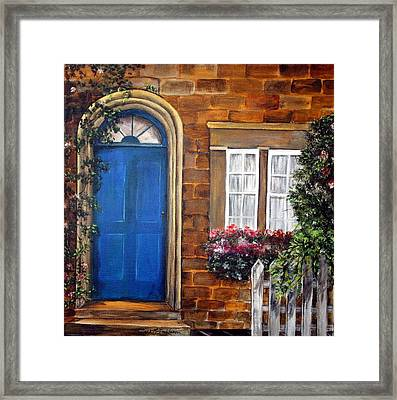 Framed Print featuring the painting Blue Door 2 by Anna-maria Dickinson