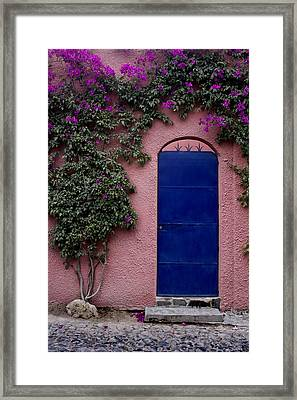 Blue Door And Bougainvilleas Framed Print