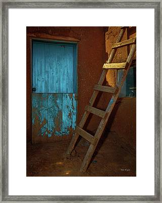 Blue Door And Ladder - Taos Pueblo Framed Print