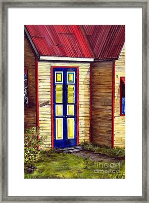 Framed Print featuring the painting Blue Door by Anna-Maria Dickinson