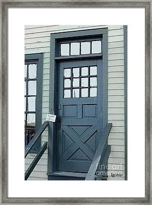 Blue Door At The Seaport Framed Print