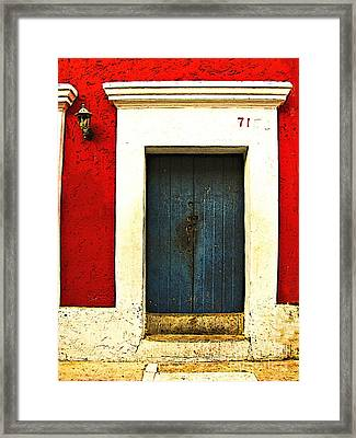 Blue Door By Michael Fitzpatrick Framed Print by Mexicolors Art Photography