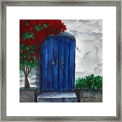 Blue Door Framed Print by Georgia Pistolis
