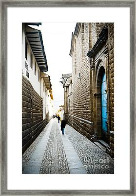 Blue Door In Cusco Framed Print by Darcy Michaelchuk