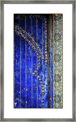 Framed Print featuring the photograph Blue Door In Marrakech by Marion McCristall