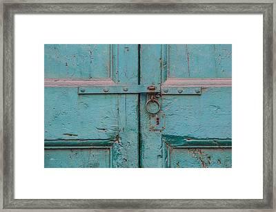 Blue Door Of Cortona Framed Print by David Letts
