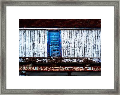 Blue Door Old Mill Building Framed Print