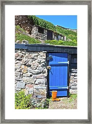 Blue Door Orange Boot Framed Print by Terri Waters
