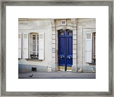 Blue Door - Paris, France Framed Print
