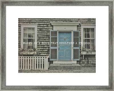 Blue Door Quote Framed Print by JAMART Photography