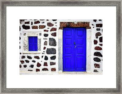 Blue Door Spotted White Building, Santorini, Greece Framed Print