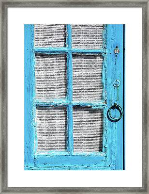 Blue Door Window With White Lace Framed Print by David Letts