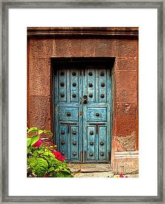 Blue Door With Bougainvilleas Framed Print