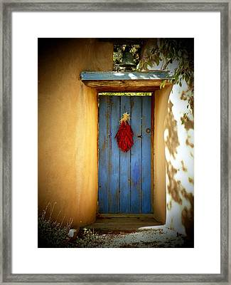 Blue Door With Chiles Framed Print