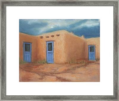Blue Doors In Taos Framed Print
