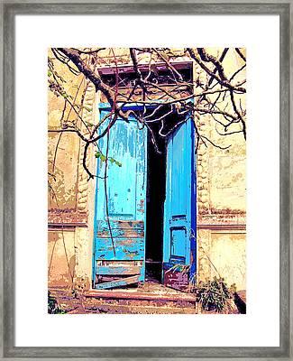 Blue Doors In Tuscany Framed Print