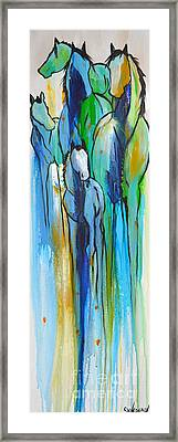 Framed Print featuring the painting Blue Drip 2 by Cher Devereaux