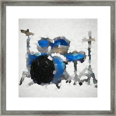 Blue Drums Abstract Framed Print