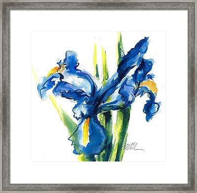 Blue Dutch Iris Flower Painting Framed Print