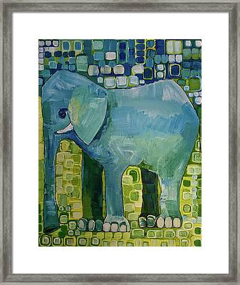 Framed Print featuring the painting Blue Elephant by Donna Howard