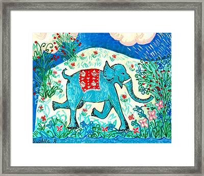 Blue Elephant Facing Right Framed Print by Sushila Burgess