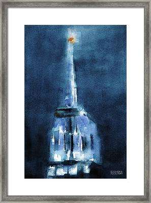 Blue Empire State Building Framed Print by Beverly Brown