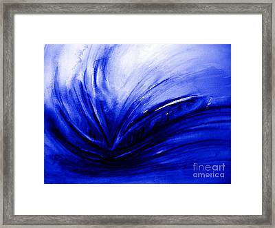 Framed Print featuring the painting Blue Expression by Allison Ashton
