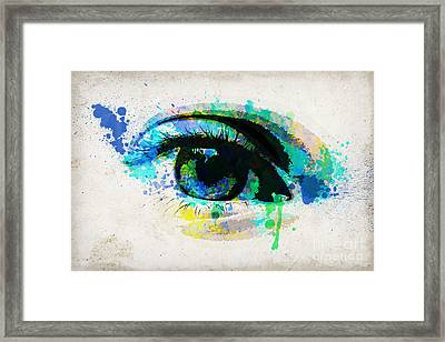 Blue Eye Watercolor Framed Print