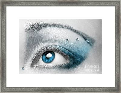 Blue Eye With Artistic Make-up Art Print Framed Print